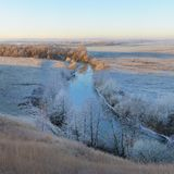 Frozen river and sunrise in Central Russia. Frozen Oka river in Central Russia Royalty Free Stock Photos