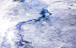 Frozen River thawing out and starting to flow Royalty Free Stock Photography