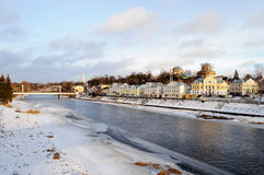 Frozen river Tvertsa in ancient russian town Torzhok Royalty Free Stock Photography