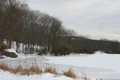 Frozen river at upstate New York. Bear Mountain Park landscape during winter Stock Image