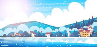 Frozen River View With Small Country Houses On Mountains Hills Winter Landscape Concept stock illustration