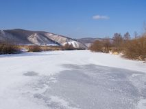 The frozen river in winter afternoon Royalty Free Stock Image