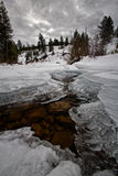 Frozen river in Winter covered in Ice. This photo was taken at the Provo River in Utah Stock Photography