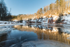 Frozen river in winter. With sandstone cliffs and ice blocks. Gauja National Park. Latvia Stock Images