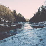 Frozen river in winter -vintage retro effect Stock Photos