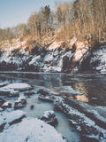 Frozen river in winter -vintage retro effect Stock Photo