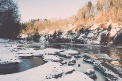 Frozen river in winter -vintage retro effect Stock Images