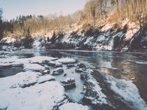 Frozen river in winter -vintage retro effect Stock Photography