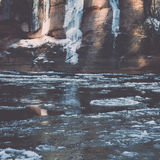 Frozen river in winter -vintage retro effect Royalty Free Stock Images
