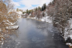 Frozen river in wintertime Royalty Free Stock Photo