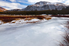 Frozen river at Yosemite National Park Royalty Free Stock Photo