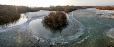 Frozen riverside panorama  Royalty Free Stock Photo