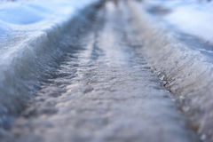 Frozen road close up. Ice road close up selective focus Stock Photo