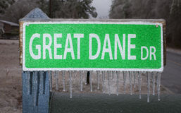 Frozen road sign Royalty Free Stock Photos