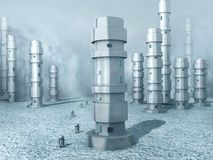 Frozen Robot Land. A frozen world populated with robots (3d render Royalty Free Stock Photo