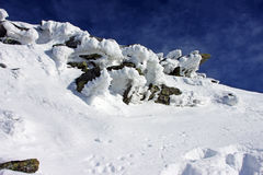 Frozen rocks on the mountain Royalty Free Stock Image