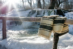 Frozen Romanian traditional stream whirlpool Stock Image