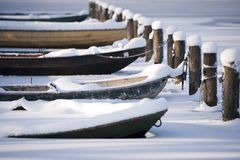 Frozen rowboats Royalty Free Stock Photography