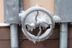 Frozen Rudder Mechanism, Water Tap. Icy Surface With Icicles. Soft Focus Stock Image
