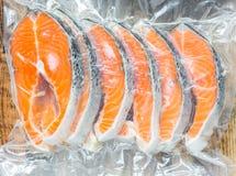 Frozen salmon fillets stock image