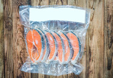 Frozen salmon fillets royalty free stock photo