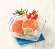 Frozen salmon patties Stock Image