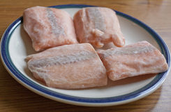 Frozen Salmon. Steaks thawing on a plate Stock Photos