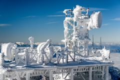 Frozen satellites in winter. Cold winter in mountains - frozen satellites at hill Chopok in Low Tatras mountains, Slovakia stock image