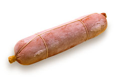 The frozen sausage. Long loaf of the boiled frozen sausage on a white background Royalty Free Stock Images