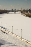 Frozen Schuylkill River. Ice and snow over the Schuylkill River, Philadelphia, PA. Viewed from the Walnut Street Bridge, February 2007 Royalty Free Stock Photos
