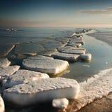 Frozen Sea. Blocks of ice on the coast of the frozen sea Stock Photos