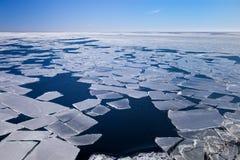 Frozen sea. Blocks of ice on the coast of the frozen sea Royalty Free Stock Photos