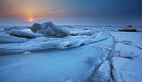Frozen sea. Dalian City of China around the Bohai sea in winter, when the temperature is below 10 degrees below zero, the sea will freeze Royalty Free Stock Photography