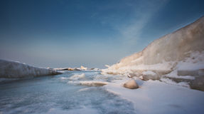 Frozen sea. Dalian City of China around the Bohai sea in winter, when the temperature is below 10 degrees below zero, the sea will freeze Royalty Free Stock Photos