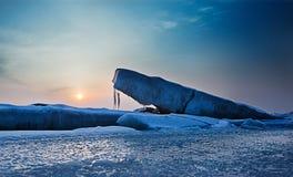 Frozen sea. Dalian City of China around the Bohai sea in winter, when the temperature is below 10 degrees below zero, the sea will freeze Stock Image