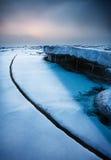 Frozen sea. Dalian City of China around the Bohai sea in winter, when the temperature is below 10 degrees below zero, the sea will freeze Royalty Free Stock Photo