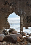 Frozen sea through the arch Royalty Free Stock Photos