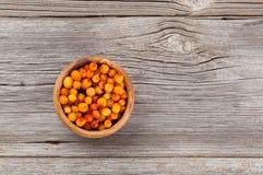 Frozen Sea-buckthorn berries Stock Images
