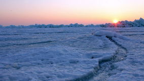 Frozen sea at dawn. Shot with a slider. stock video