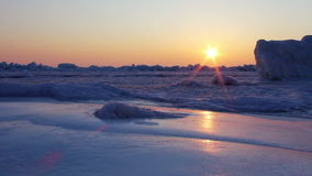 Frozen sea at dawn. Shot with a slider. stock video footage