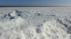 Frozen sea in the Gulf of Odessa Black Sea floating ice floe. Frozen sea in the Gulf of Odessa, floating ice floe Stock Images