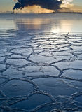 Frozen Sea Ice With Pollution In Background Stock Photos