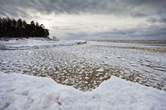 Frozen sea landscape in winter Stock Images