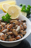 Frozen Sea Mussels. A bowl with frozen sea mussels. Lemon and fresh parsley stock photography