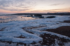 Frozen sea of Qingdao. Frozen sea with beautiful ice formations at Qingdao, Shandong Province, China, Asia Stock Photo