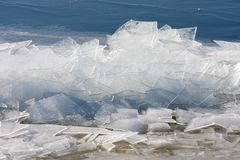 Frozen sea with stack of ice floes. Frozen sea with stack of transparent ice floes Royalty Free Stock Photo