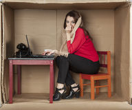 Frozen secretary working in the office Stock Images
