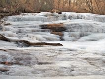 Frozen Shacktown Falls. Single digit temperatures formed some wonderful shapes as the waters of Shacktown Falls began to freeze.  In warmer weather, the water Royalty Free Stock Photography