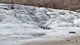 Frozen Shacktown Falls. Single digit temperatures formed some wonderful shapes as the waters of Shacktown Falls began to freeze. In warmer weather, the water Royalty Free Stock Images