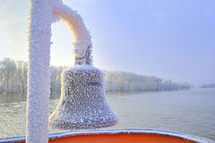 Frozen ship bell in winter time Royalty Free Stock Photos